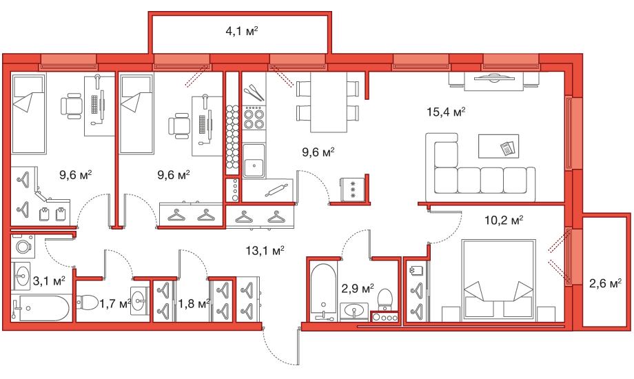 Планировка Четырёхкомнатная квартира (Евро) площадью 77 кв.м в ЖК «Legenda на Яхтенной, 24»
