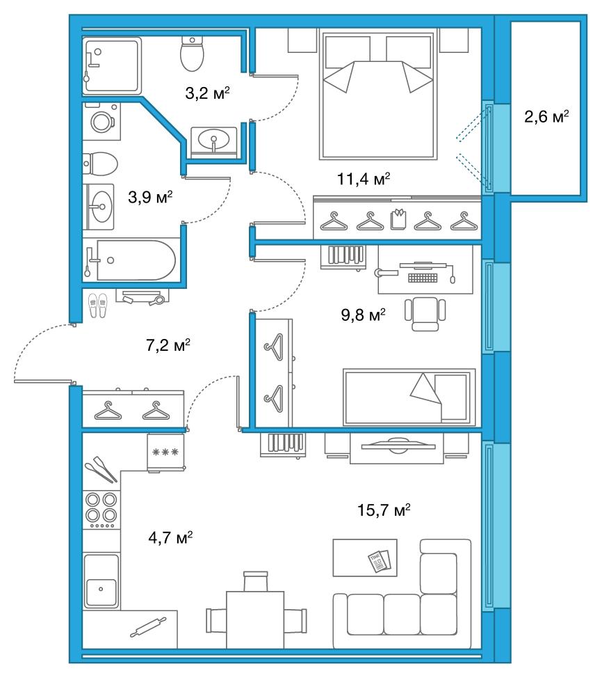 Планировка Трёхкомнатная квартира (Евро) площадью 55.9 кв.м в ЖК «Legenda на Яхтенной, 24»