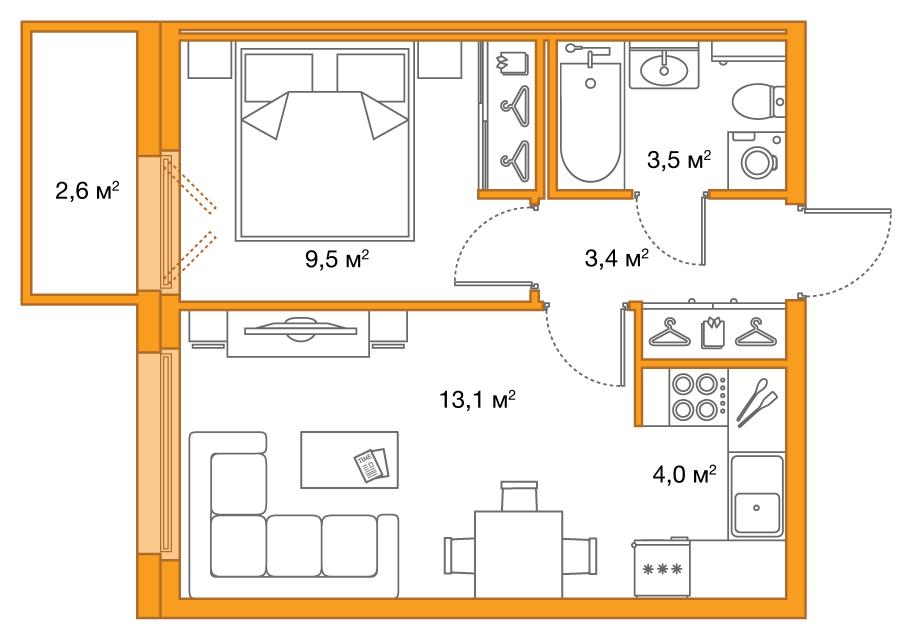 Планировка Двухкомнатная квартира (Евро) площадью 33.5 кв.м в ЖК «Legenda на Яхтенной, 24»