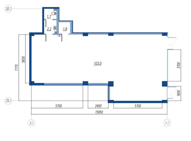 Планировка Коммерческое помещение площадью 108.7 кв.м в ЖК «Legenda на Яхтенной, 24»