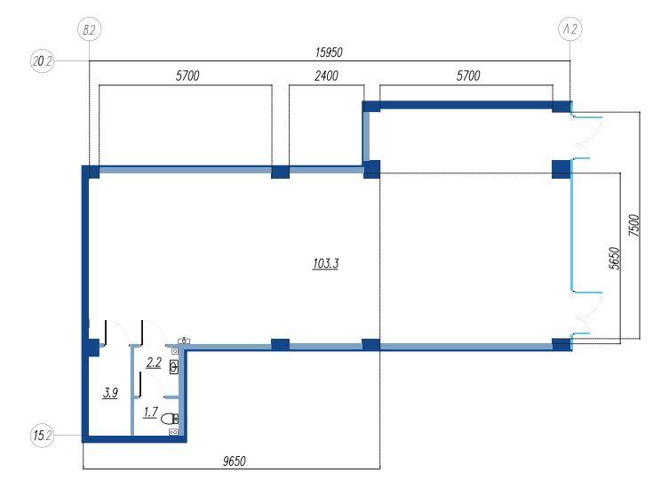 Планировка Коммерческое помещение площадью 111.1 кв.м в ЖК «Legenda на Яхтенной, 24»