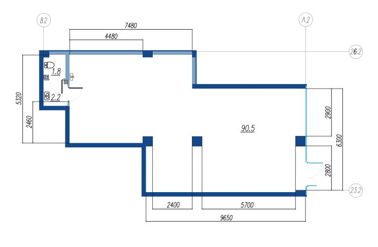 Планировка Коммерческое помещение площадью 94.5 кв.м в ЖК «Legenda на Яхтенной, 24»