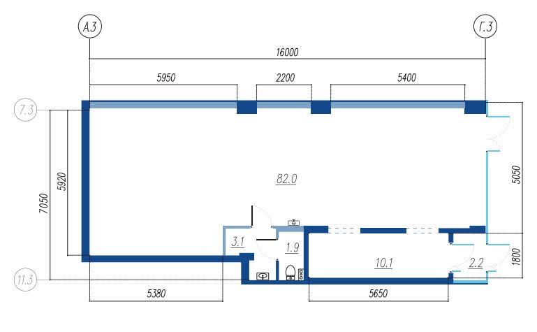 Планировка Коммерческое помещение площадью 99.3 кв.м в ЖК «Legenda на Яхтенной, 24»