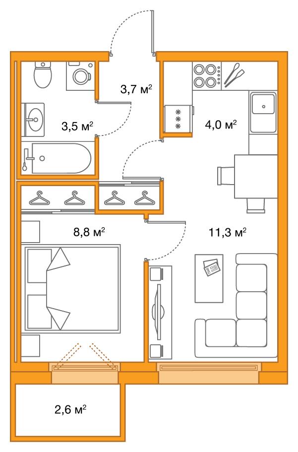 Планировка Двухкомнатная квартира (Евро) площадью 32 кв.м в ЖК «Legenda на Яхтенной, 24»